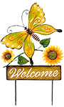 Land & Sea Metal Welcome Butterfly and Blooms Yard Art