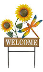 Land & Sea Metal Welcome Sunflowers with Dragonfly Yard Art