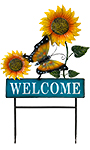 Land & Sea Metal Butterfly with Sunflowers Welcome Yard Art