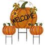Land & Sea Metal Welcome Pumpkin Trio w/Sunflowers Yard Art