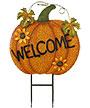 Land & Sea Metal Welcome Pumpkin with Sunflowers Yard Art