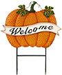 Land & Sea Metal Welcome Banner Pumpkin Yard Art