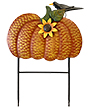 Land & Sea Metal Pumpkin with Sunflower and Bird Yard Art