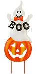 Land & Sea Metal Jack-O-Lantern with Boo Ghost Yard Art