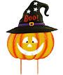Land & Sea Metal Jack-O-Lantern with Boo Witch Hat Yard Art