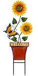 Land & Sea Tall Metal Potted Sunflowers & Butterfly Yard Art