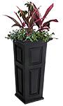 "Mayne Nantucket Tall Patio Planter, Black, 15.5""L x 32""H"