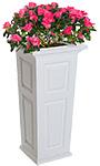 "Mayne Nantucket Tall Patio Planter, White, 15.5""L x 32""H"