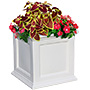 "Mayne Fairfield Square Patio Planter, White, 20""L"