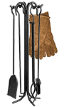 Panacea Steel Fireplace Tool Set with Hearth Gloves