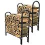 Panacea Deluxe Outdoor Log Racks, Black, 4', Set of 2
