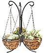 Panacea Tabletop Stand w/Three Mini Hanging Baskets, Black
