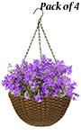 """Panacea Woven Resin Hanging Baskets, 14"""" dia. each, 4 Pack"""