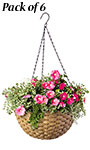 Panacea Woven Resin Hanging Baskets, Wicker, Pack of 6