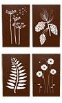 Panacea Laser Engraved Botanical Wall Art Assortment, 4 Pcs