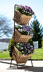 "Panacea Three-Tier Harvest Basket Planter Stand, Rust, 44""H"