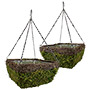 """Panacea Wicker & Moss Square Hanging Baskets, 14""""L, 2 Pack"""