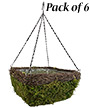 """Panacea Wicker & Moss Square Hanging Baskets, 14""""L, 6 Pack"""