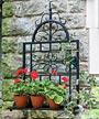 "Panacea Garden Gate Wall Trellis with Shelf, Black, 24.5""W"