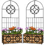 Panacea Wide Scroll Planter Trellises w/Liners, Pack of 2