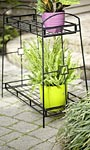 "Panacea Contemporary Two-Tier Plant Stand, Black, 32""H"