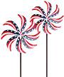 "Panacea Patriotic Kinetic Art Windmills, 72""H, Pack of 2"