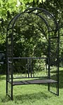"""Panacea Lattice Arbor with Bench, Black, 90.25""""H"""