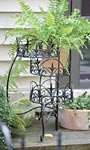 "Panacea Finial Three-Tiered Folding Plant Stand, Black, 21""H"