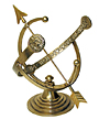 Rome Armillary Sundial w/Lion's Head, Polished Brass, 12.25""