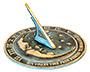 Rome Bright Brass Moon & Stars Sundial, Verdigris