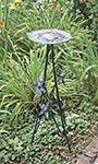 "Rome Wrought Iron Floral Pedestal, Antique Gray, 32"""