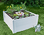 Vita Gardens Square Composting Garden Bed, White, 4'L x 4'W