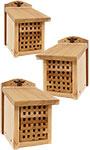 Woodlink Heavy Duty Cedar Mason Bee Houses, Small, 3 Pack