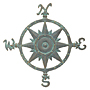 "Whitehall Compass Rose Wall Art, Bronze Verdigris, 22.75""W"