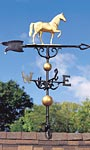 Whitehall Horse Traditional Weathervane, Gold-Bronze