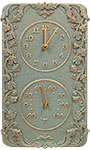"Whitehall Acanthus Clock & Thermometer, Copper Verdi, 13.5""L"