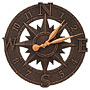 "Whitehall Compass Rose Clock, Oil Rubbed Bronze, 16"" dia."