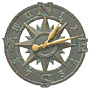 "Whitehall Compass Rose Clock, Bronze Verdigris, 16"" dia."