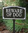 "Whitehall ""Beware of Dog"" Statement Plaque, Black / White"