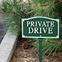 "Whitehall ""Private Drive"" Statement Plaque, Green / White"