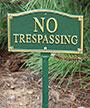 "Whitehall ""No Trespassing"" Statement Plaque, Green / Gold"