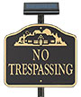 Whitehall No Trespassing Sign with Solar Light, Black/Gold