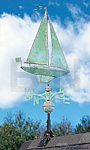 Whitehall Copper Sailboat Weathervane, Verdigris